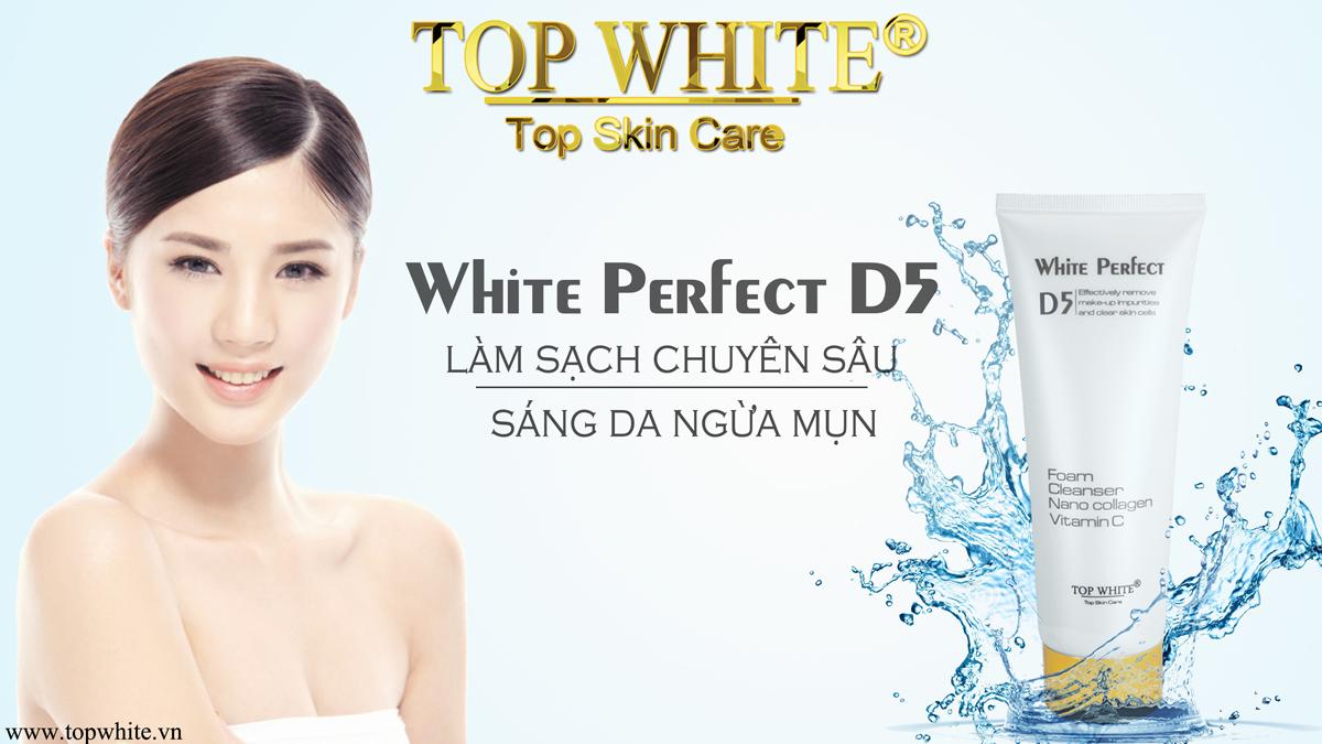 White Perfect D5 sữa rửa mặt trắng da, hỗ trợ trị mụn, nám, tàn nhang