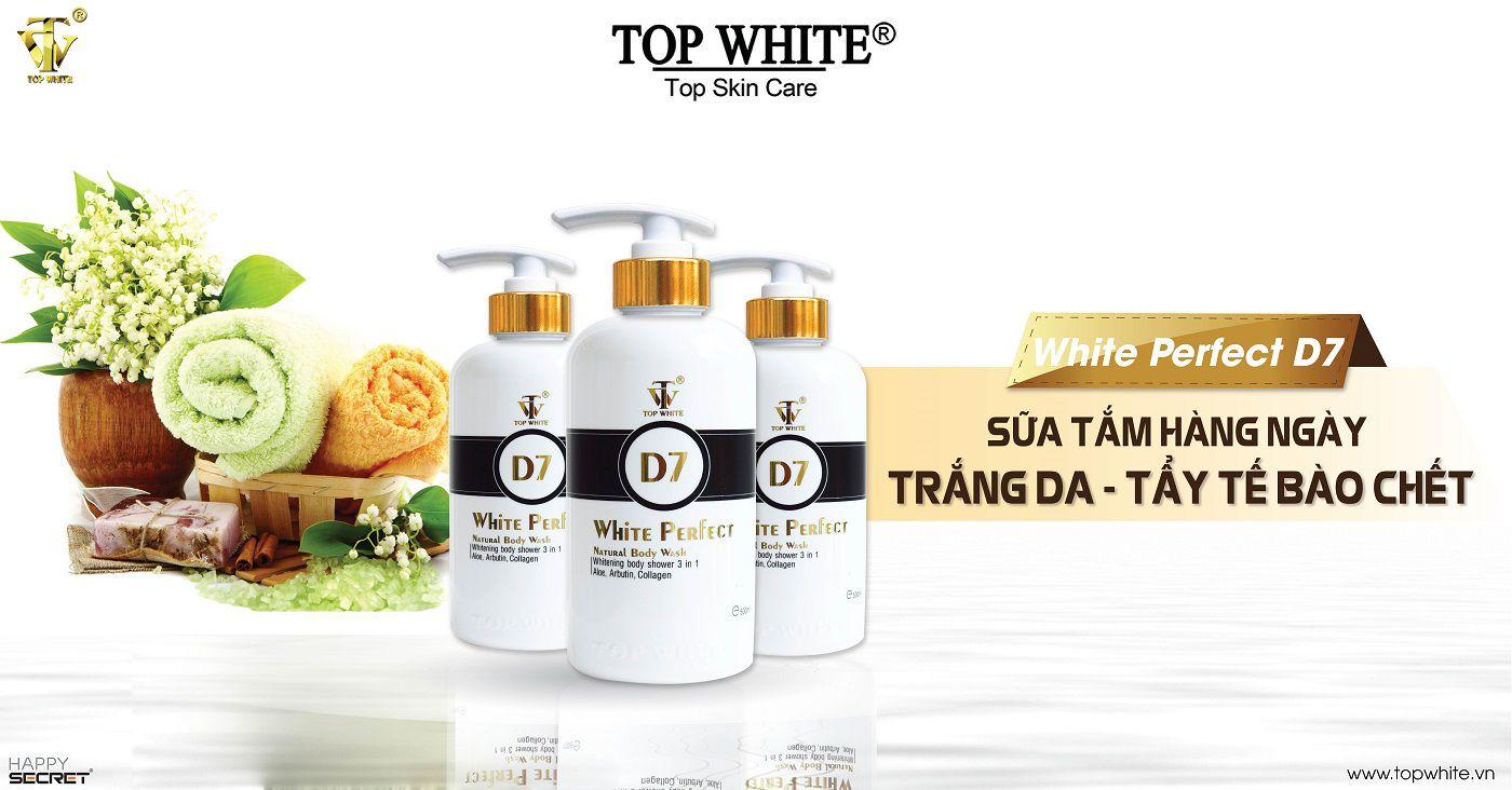 sữa tắm trắng da top white d7