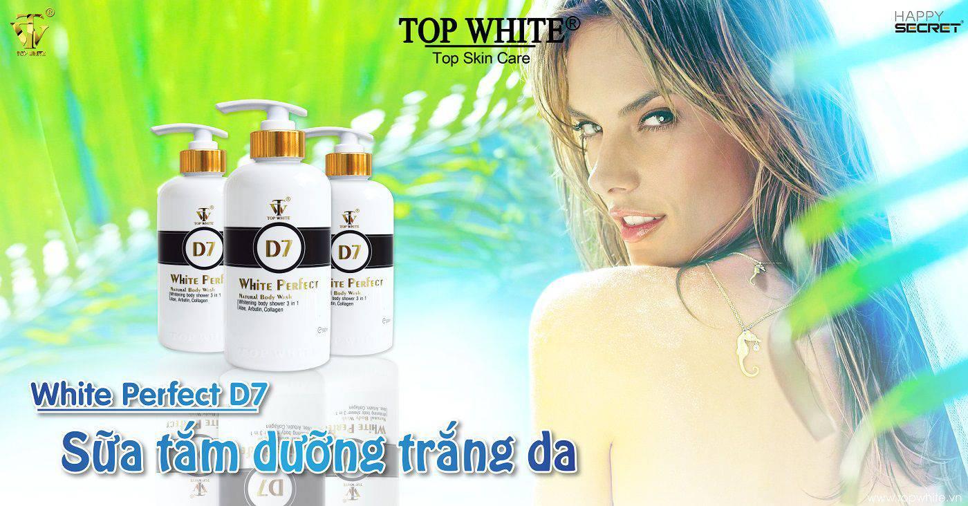 sữa tắm trắng da hàng ngày top white d7