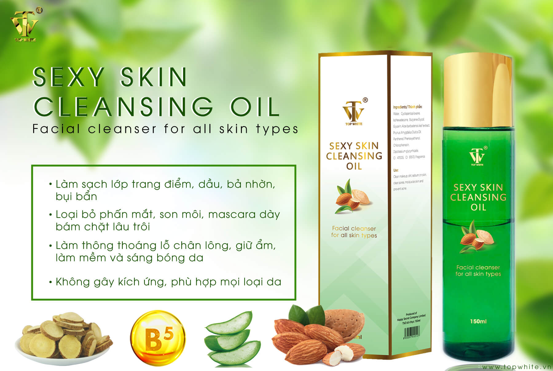 dầu tẩy trang top white sexy skin cleansing oil